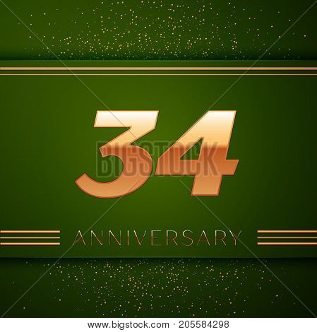 Realistic Thirty four Years Anniversary Celebration Logotype. Golden numbers and golden confetti on green background. Colorful Vector template elements for your birthday party