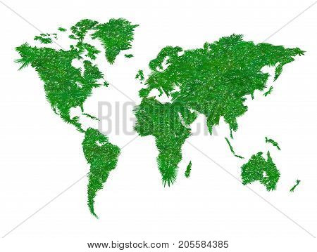 Ecology world map. Texture green grass. Vector illustration isolated on white background. Symbol of careful attitude to the environment, eco-friendly goods, eco travel.