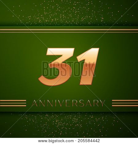 Realistic Thirty one Years Anniversary Celebration Logotype. Golden numbers and golden confetti on green background. Colorful Vector template elements for your birthday party