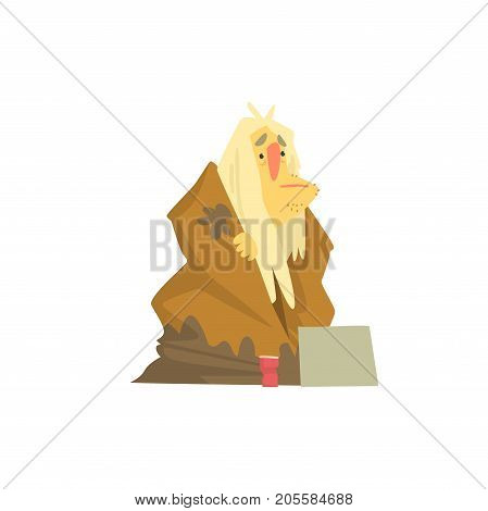 Homeless man character in dirty rags sitting on the street, unemployment male beggar needing help vector illustration isolated on a white background