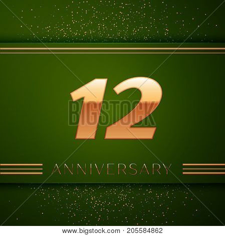 Realistic Twelve Years Anniversary Celebration Logotype. Golden numbers and golden confetti on green background. Colorful Vector template elements for your birthday party