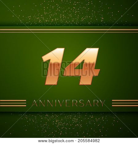 Realistic Fourteen Years Anniversary Celebration Logotype. Golden numbers and golden confetti on green background. Colorful Vector template elements for your birthday party