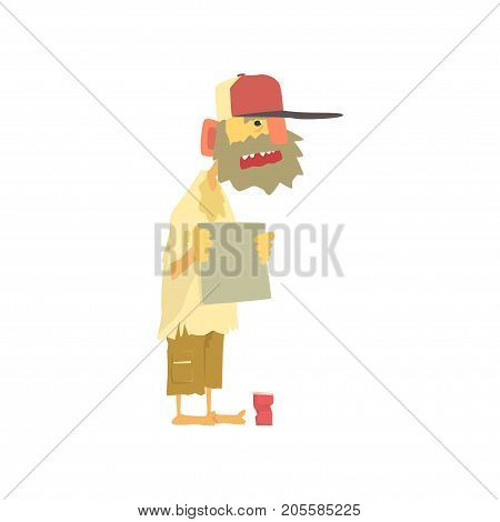 Homeless man character in dirty rags standing on the street with blank signboard asking for help, unemployment man needing help vector illustration isolated on a white background