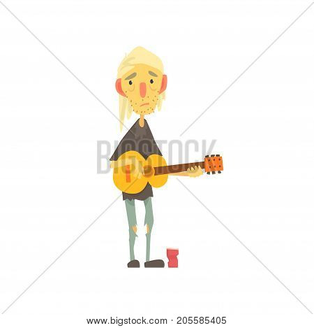 Unhappy homeless man character in ragged clothes playing guitar on the street, unemployment person needing help vector illustration isolated on a white background