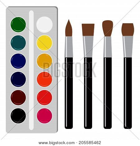 Watercolors And Several Types Of Paintbrushes. Back To School Vector Illustration On White Backgroun