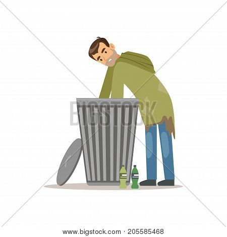 Young homeless man character looking for food in a trash can, unemployment man needing help vector illustration isolated on a white background