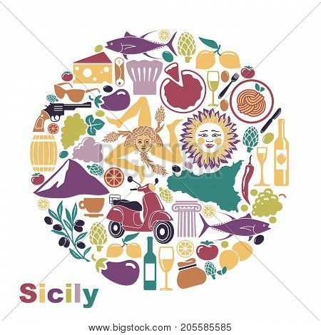Traditional symbols of nature, cuisine and culture of Sicily. Set of icons in the form of a circle