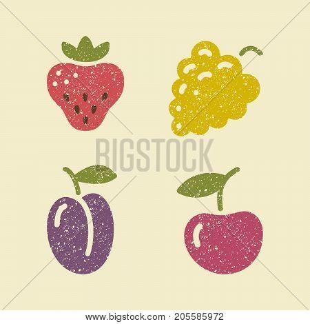 Icons berries. Grape, strawberry plum and cherries