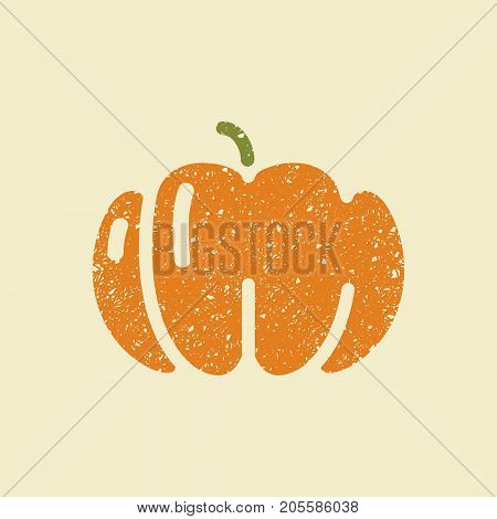 Isolated simple vector flat icon pumpkin. Stylized drawing with colored pencils