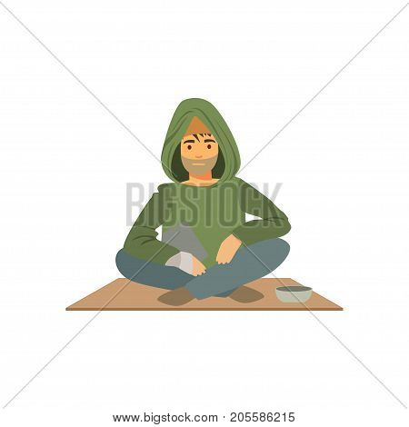 Young homeless man character sitting on the street with cup for money, unemployment male beggar needing help vector illustration isolated on a white background