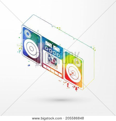 Vector illustration of isometric watercolor tape recorder, rainbow paints. Old fashion vintage boom box, retro cassette recorder.