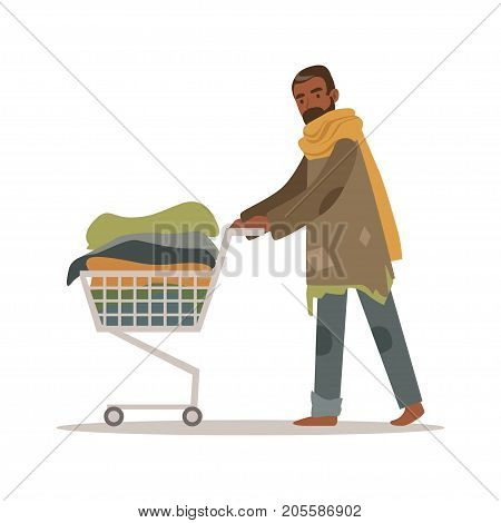 Homeless black man character pushing shopping cart with his possessions, unemployment male beggar needing help vector illustration isolated on a white background