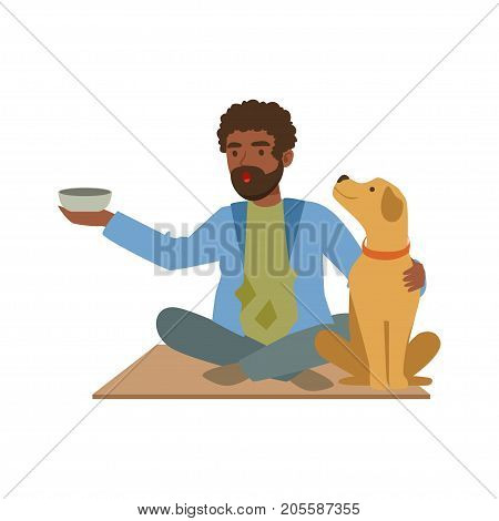Young black homeless man character sitting on the street with his dog and cup for money, unemployment male beggar needing help vector illustration isolated on a white background