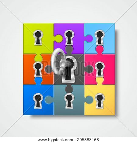 Puzzle infographics with key art. Vector illustration