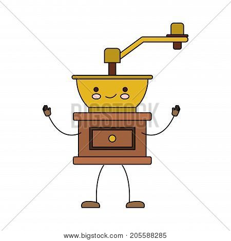 coffee grinding with crank in front view cartoon colorful silhouette vector illustration