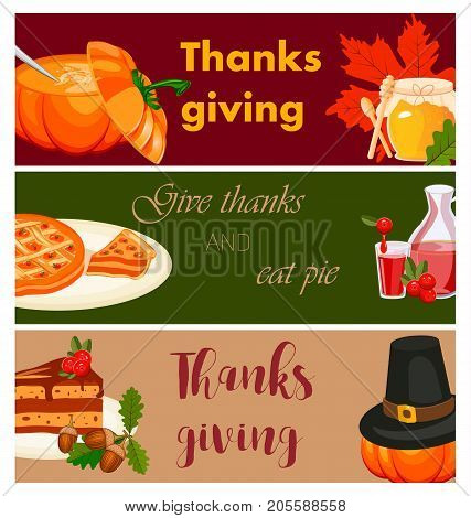 Happy thanksgiving card celebration banner design cartoon autumn greeting harvest season holiday brochure vector illustration. Traditional food dinner seasonal thanks giving poster.