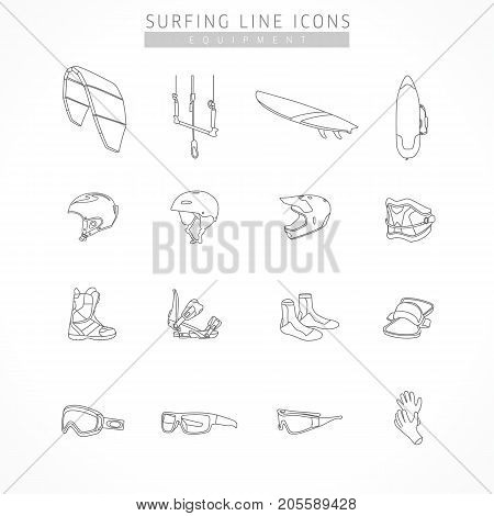 Set equipment of kite surfing sport line icons. Icons of equipment for surfing - kite, board, bag, helmet kite, snowboard, bike, bindings, shoes, trapezoid, strap, sports glasses, ski goggles, gloves poster