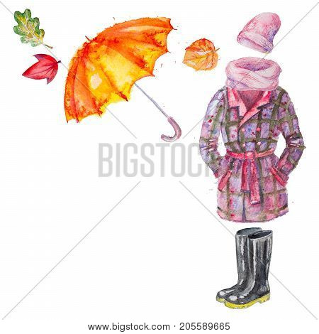 Set of hand drawn watercolor autumn clothing and accessories, coat, umbrella, gumboots, scarf, hat with leaves , isolated on the white square background with empty place for your text