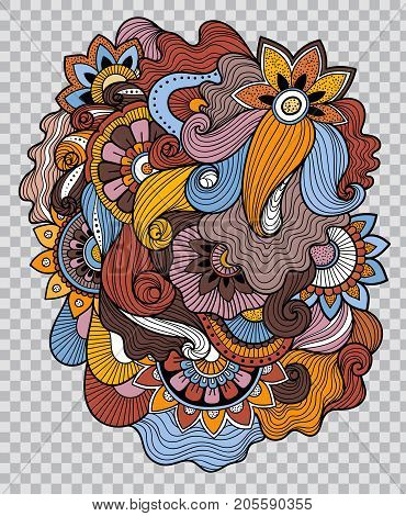 Colored floral tattoo artwork. Beautiful flower composition for tattoo. Flower sticker. Doudle art floral composition. Zentangle floral ornament on transparent background.