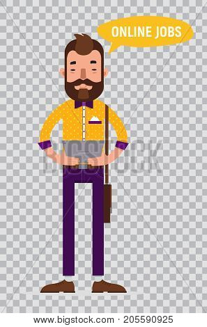 Man with tablet looking for job through online service. Man searching job. Online recruitment service. Vector illustration on transparent background.