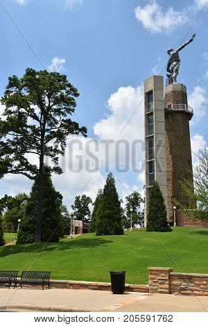 BIRMINGHAM, ALABAMA - JUL 23: Vulcan, the largest cast iron statue in the world, in Birmingham, Alabama, as seen on July 23, 2017. The completed weight of the god Vulcan's figure alone is 100,000 pounds.