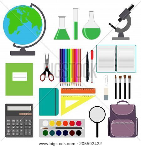 Back To School Design. Set Of School Supplies. Line, Polygon, Scissor, Notebook, Pen, Pencil, Eraser