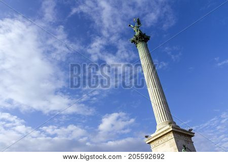 The World Heritage Site Heroes' Square in Budapest Hungary.