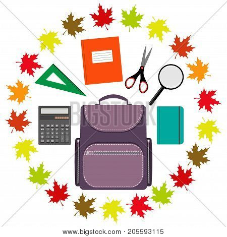 Back To School Design. Set Of School Supplies In The Ring Of Maple Leaves . Schoolbag, Calculator, N