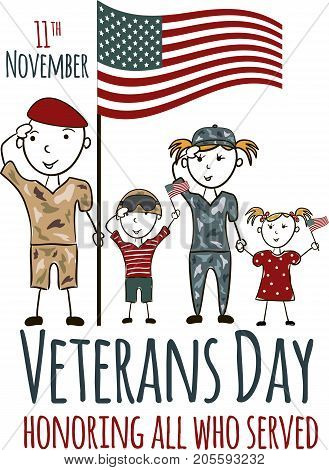 Veterans day greeting card with kids. National american holiday vector illustration with USA patriotic elements. Childrens freehand drawing, festive poster with family. Honoring all who served banner.