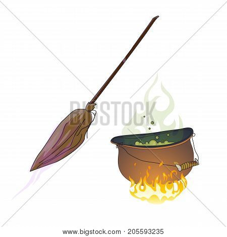 Halloween symbols hand drawn. Cauldron with boiling green potion and old magical broom sketch. Vector drawing isolated on white