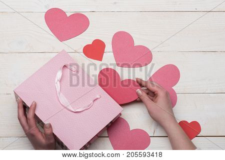 Love And Holiday Concept: Pink Paper Bag With Valentines