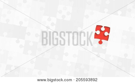 One Red Puzzle Piece on a Grey Puzzles Rectangle - Vector Illustration. Scattered Jigsaw Puzzle Blank Template. Vector Background.