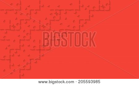 Red Puzzle Pieces Arranged in a Rectangle - JigSaw - Vector Illustration. Jigsaw Puzzle. Abstract Vector Background.