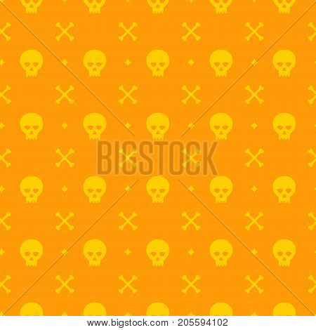 Halloween seamless pattern vector design for background, wrapping paper, greeting card. Sculls and bones objects illustration.