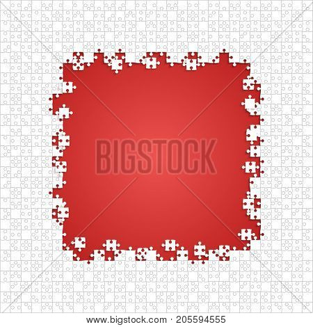 Frame White Puzzles Pieces Arranged in a Red Square - Vector Illustration. Scattered Jigsaw Puzzle Blank Template. Vector Background.
