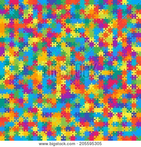 900 Multicolor Material Design Pieces Arranged in a Square - JigSaw. Jigsaw Puzzle Blank Template.