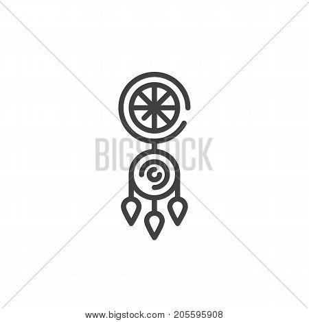 Dreamcatcher line icon, outline vector sign, linear style pictogram isolated on white. Symbol, logo illustration. Editable stroke