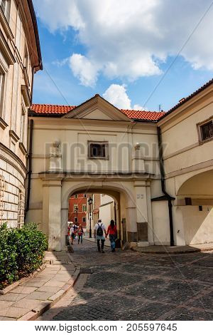 WARSAW, POLAND - JUNE, 2012: Famous tourist sight Queen Anna's corridor connecting the Royal Castle with St. John's Cathedral