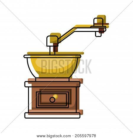 coffee grinding with crank in front view colorful watercolor silhouette vector illustration