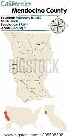 Large and detailed map of California - Mendocino county