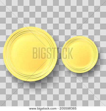 Yellow Ceramic Plate with Gold Yellow Border on Checkered Background