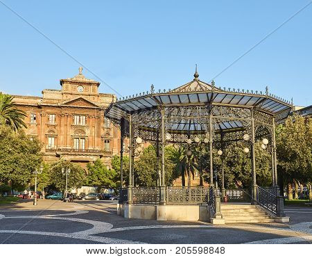 Piazza Garibaldi Gardens In Taranto, Apulia, Italy.