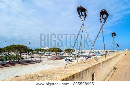 Antibes France - July 01 2016: Modern art sculptures on the Pre-des-Pecheurs esplanade in the old town. The area was renovated in 2014 and is popular for events.