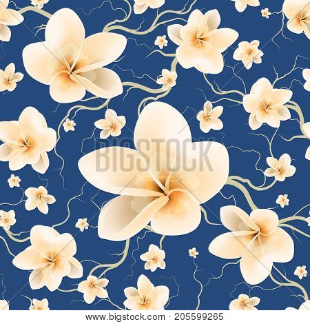Floral Seamless Pattern With Branch And Spring Flowers