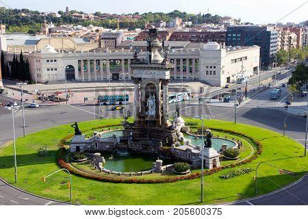 Barcelona City And Plaza Espanya ,spain