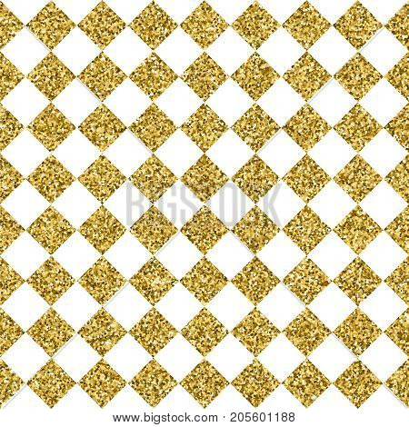 Gold seamless pattern made of golden glitter texture geometric luxury background with square tiles. EPS10 vector.