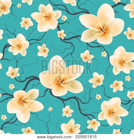 Floral Seamless Pattern With Flowering Branch And Spring Flowers