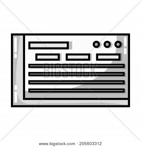 grayscale bank check to finance economy icon vector illustration