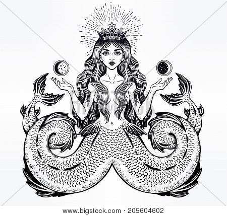 Hand drawn artwork alchemy Melusine Siren, Twin-tailed Mermaid girl with fairytale hair. Ocean beast. Sea, fantasy, spirituality, mythology, tattoo art, coloring books. Isolated vector illustration.