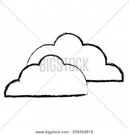 figure nice clouds natural weather design vector illustration
